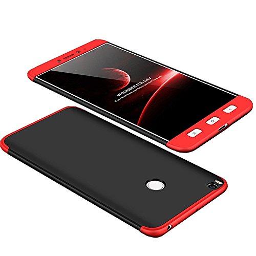 Funda Xiaomi Mi Max2 Max 2, 360 Grados Integral Carcasa Cuerpo Completo Caso Cubierta, 3 en 1 Híbrido Anti-Choque Snap On Bumper, Anti-Arañazos Anti-Huellas dactilares Duro Ligero Shell (Negro+Rojo)