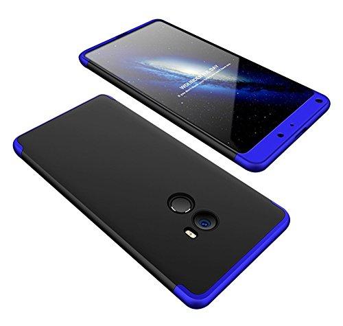 2ndSpring Xiaomi Mi Mix 2 Funda, Funda Xiaomi Mi Mix 2 360 Grados Integral para Ambas Caras + Cristal Templado, Luxury 3 in 1 PC Hard Skin Carcasa Case Cover para Xiaomi Mi Mix 2 Azúl Negro
