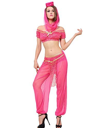 Quesera Damen Prinzessin Jasmin Kostüm Set Aladdin Arabische Haremhose Halloween Outfit - rosa - Etikettengröße XX-Large=US Größe X-Large (Rot Prinzessin Jasmin Kostüm)