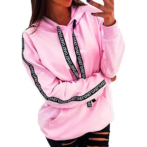 Chaink_1 Damen Kapuzen-Sweatshirt, modisch, klassisch, leicht, lässig, langärmelig, mit Kordelzug, Übergröße, Pullover Tops, Bluse 2019 Gr. XXL, Rose