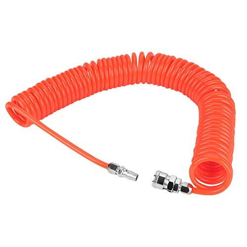 Akozon 8mm * 5mm Flexibler PU Rückstoß-Luftschlauch mit Verbindungen für Luftkompressor-Pumpe 9m, recoil roter Polyurethan-Schlauch