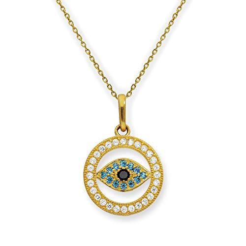 Collar de Oro 9 Quilates con Ojo Turco y Circonitas | Colgante y Cadena 40 cm