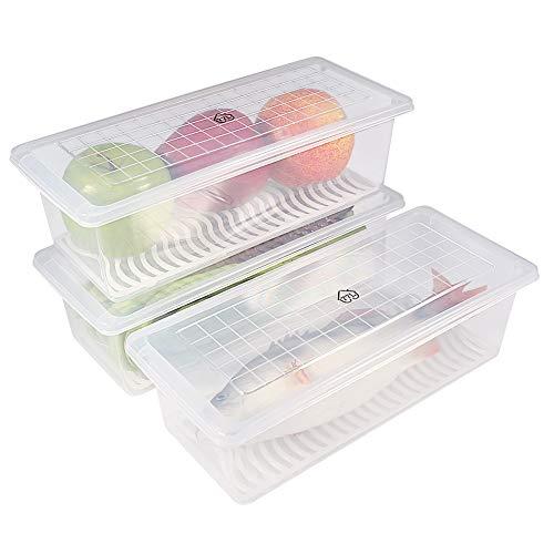 77L Recipiente de almacenamiento de alimentos de plástico, contenedores apilables con placa de drenaje extraíble con tapa , mantener fresco para almacenar peces, carne, verduras y más (Paquete de 3)