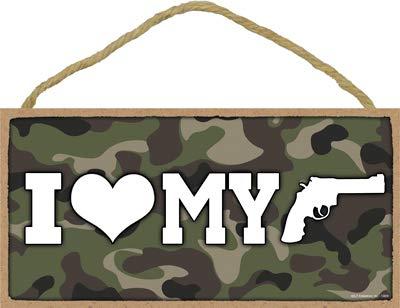 . SJT13808 Holzschild, Motiv: I (Herz) My Gun - Camo Hintergrund, 12,7 x 25,4 cm ()