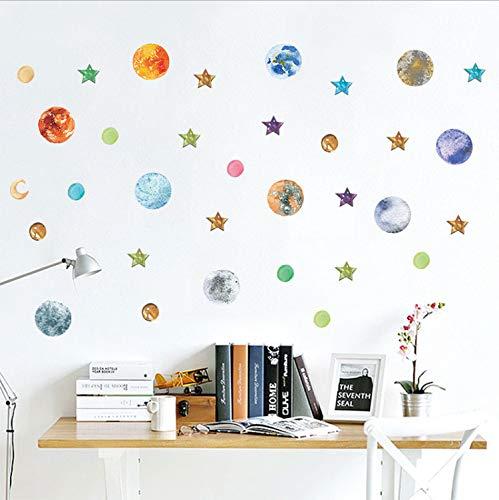 xmydeshoop Galaxy Stars Cosmic Solar Moon Wandaufkleber Für Kinderzimmer Wohnzimmer Dekoration Kunst DIY Aufkleber Wandbilder Poster 72X145 cm (Poster Star Der Woche)