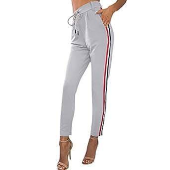 Minetom Pantalon À Imprimé Camouflage, Femme Jogging Casual Sports Taille Haute Trousers Jeans A Gris X-Small