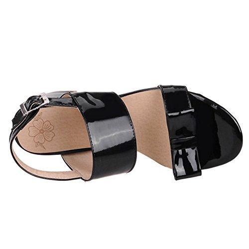 TAOFFEN Femme Confortable Slingback Boucle Bowknot Ete Bloc Talon Sandales Noir