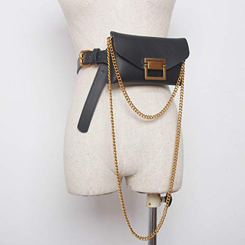 Unbekannt Damen Taschen Gürtel Schlangenleder Kette Kettentaschen Mini-Handytasche mit Mantel Jeans Kleid Abnehmbarer Gürtel Gürtel, schwarz