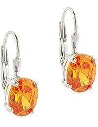Boucles d'oreilles dormeuses Prong Set levier vers l'arrière de Sterling Argent Oval orange