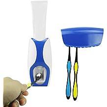 Automático dispensador de pasta de dientes con soporte de pared cepillo de dientes titular, 5