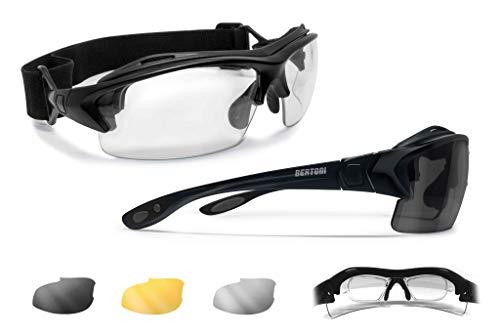 Bertoni Sportbrille mit Sehstärke für Brillenträger mit 3 Antibeschlag UV Schutz Gläsern - mit Austauschbare Bügel oder Kopfband - AF399D1 Italy