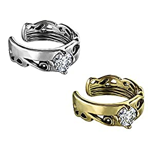 beyoutifulthings Ohr-klemme KELTISCHES TRIBAL CUT OUT ZIRKONIA clear Ohringe Ohr-ringe Ohr-clip Fake-Piercing Messing Silber Gold