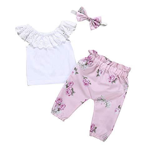 MRULIC Neugeborenes Baby Mädchen Outfits Ärmelloses Shirt Rundhals Tops + Floral Pants + Stirnband Sets(Rosa,6-12 ()