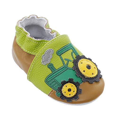 Weiche Leder Babyschuhe mit Mokassins Wildledersohlen für Kleinkinder Kleinkinder Jungen Mädchen Prewalker Schuhe (12-18 Monate, Grüner Traktor)