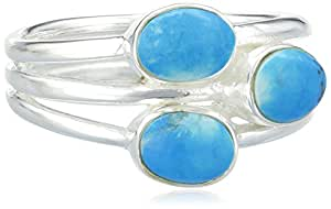 Elements Sterling Silver R2525T 58 Ladies' 3 Band with Turquoise Ring - Size Large