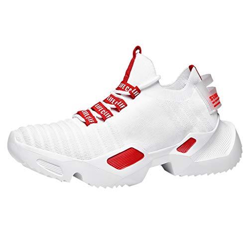 CUTUDE Herren Laufschuhe Trend Gewebte Atmungsaktiv Ultra-Leicht Turnschuhe Leichte Stoßfest Mesh Laufschuhe Arbeitsschuhe Sneaker (Rot, 43 EU)