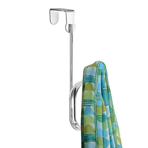 mDesign Percheros de puerta con ganchos dobles – Set de 3 ganchos para ropa – Prácticos para colgar abrigos y chaquetas o como percha de baño – Sin taladro – Color: Plateado