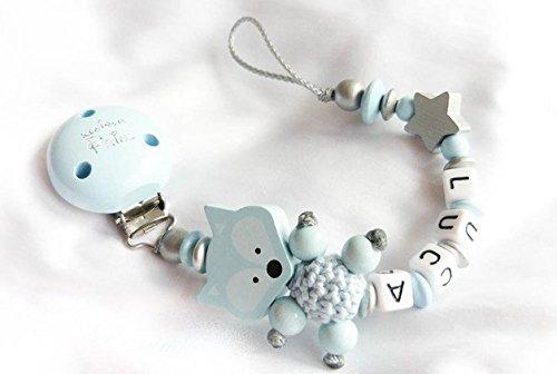Baby Schnullerkette Teddy mit Namen - Kinder - Geschenk zur Geburt, Taufe grau weiß Größe: max. 22cm (ohne Clip) (babyblau, silber, weiß)