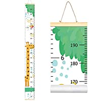 "Baby Kids Growth Chart, Wood Frame Canvas Roll Up Height Chart Wall Hanging Ruler for Kids Bedroom Nursery Wall Decoration Unique Baby Shower Gift, 79""x7.9"""