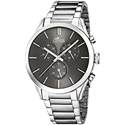 Lotus Men's Quartz Watch with Grey Dial Chronograph Display and Silver Stainless Steel Bracelet 18114/2