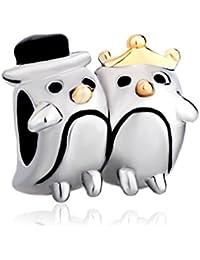 Talismán pareja de pingüinos Uniqueen, talismán de animales, oferta económica, apto para pulseras Pandora