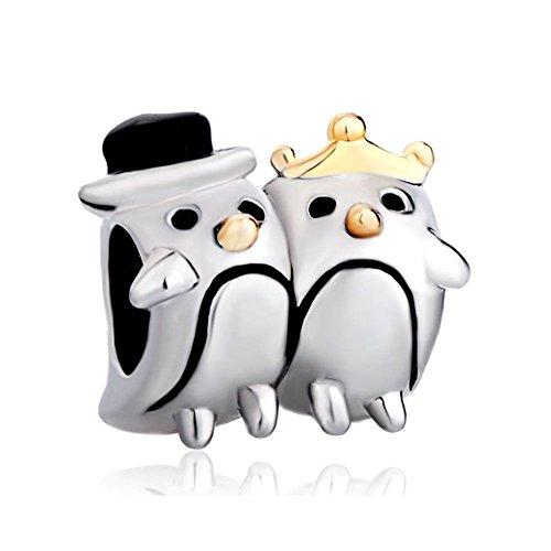 Uniqueen Pinguinpaar-Charm-Perlen für Charm-Armbänder, Tier-Charm