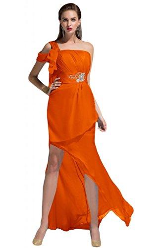 Sunvary Modern 2015 Designer Neu Chiffon Traeger Falte Partykleid Abendkleid Orange
