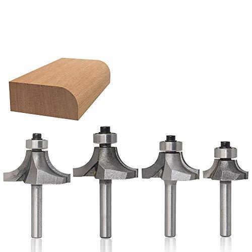 Bescita Round Over Bowl Router Bit 1/4-Schaft-Eckenrundfräser für Runde Ecke Cutter Holzbearbeitung Fräser Rand Trimmer Cutter Bit (4pc) -