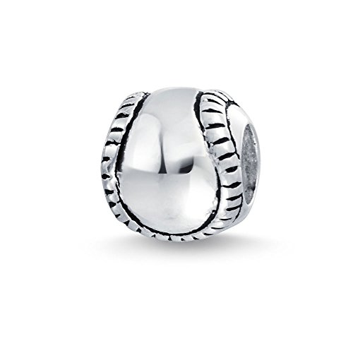 Charme Softball Silber Sterling (Softball Baseball Charme 925 Sterling Silber Sport Perlen)