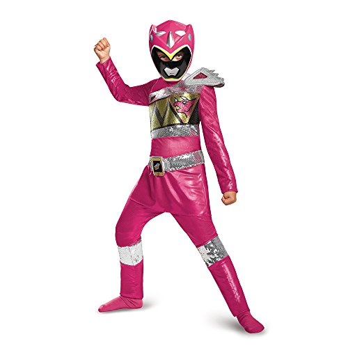 Disguise Pink Ranger Dino Charge Sequin Deluxe Costume, Large (10-12) by Disguise (Red Ranger Deluxe Kostüm)