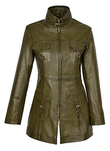 Frauen Neueste 3/4 Ausgestattet Echte Ledermantel Damen Trendy Reißverschluss Jacke Carol Olivgrün (M - EU 38)