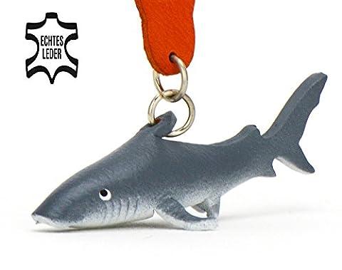 Hai Herbert - Deko Schlüsselanhänger Figur aus Leder von Monkimau in weiß grau - Dein bester Freund. Immer dabei! - 5x2x4cm LxBxH klein, jeweils 1