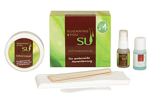 Sugaring4You +1 Zuckerpaste zur Haarentfernung - Variante besonders geeignet für Intim & Achsel Enthaarung - Beauty-Sugar-Set inkl. Silverspray, Cleanser & Zubehör (Zuckerpaste Soft 250g)