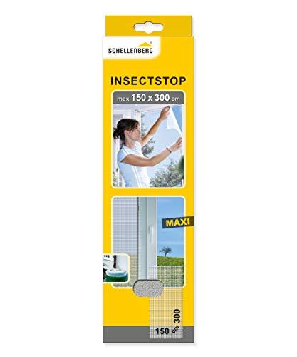 Schellenberg 50324 Insektenschutz für große Fenster einfache Montage ohne bohren, individuell kürzbar, Fliegengitter, Weiß, 150 x 300 cm