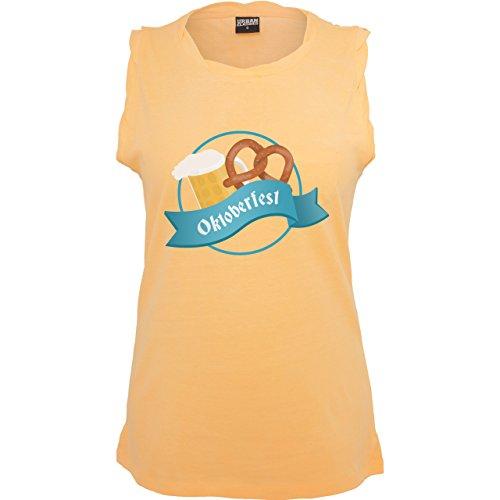 Oktoberfest Damen - Oktoberfest - ärmelloses Damen T-Shirt mit Brusttasche Neon Orange