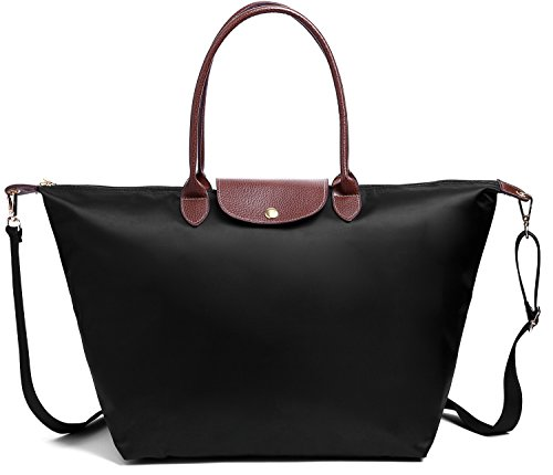 a2a81112acc3 BEKILOLE Women Fashion Waterproof Tote Bag Nylon Shoulder Beach Bag with  Shoulder Strap- Black Color