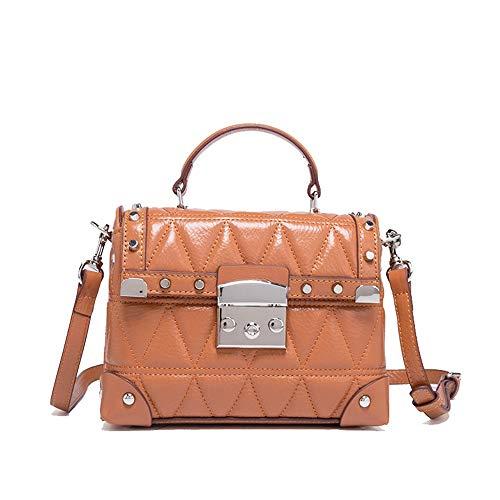 Kieuyhqk Lady Leder Handtaschen Messenger Schultertasche Einfache Wild Lock Small Square Tote Bag Frauen Casual Handtasche Schulter-Handtasche (Farbe : Braun)