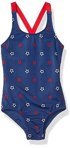 Amazon Essentials Mädchen-Badeanzug Einteiler, Blue Stars, US 3T (EU 98-104)