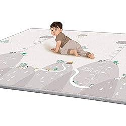 YVSoo Alfombra de Juegos para bebés gatear XXXL Tapete de juego Alfombra grande para Niños Alfombra de seda LDPE impermeable 200 x 180 x 1 cm