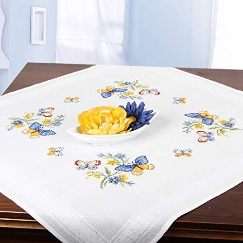 Stickpackung Schmetterlinge, Kreuzstich Tischdecken Set vorgezeichnet zum Sticken, Stickset zum Selbersticken