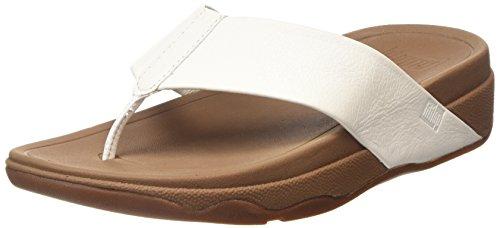 FitFlop Surfa (Leather), Sandales Plateforme femme Blanc - White (Urban White 194)