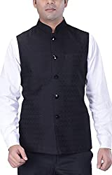 KISAH Mens Woven Cotton Silk Black Nehru Jacket