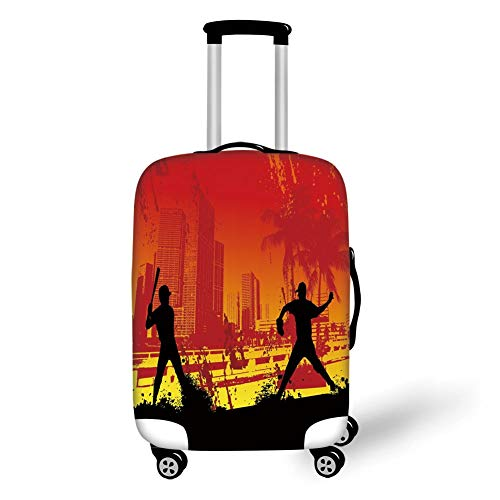 Travel Luggage Cover Suitcase Protector,Teen Room Decor,Men Playing Baseball in Town City Park Tall Buildings Urban Scenery Decorative,Red Yellow Black,for Travel M (Hot Gypsy Teen)