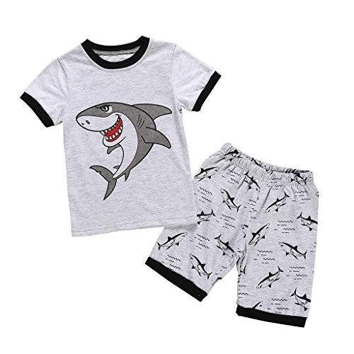 2-7 años niños bebé Joven Manga Corta Dibujos Animados tiburón impresión Tops...