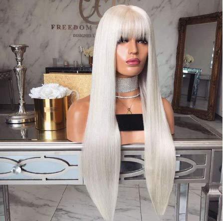 Glamour Perücke Kostüm - WQWIG Klassische weiße gerade Lange Perücke für Damen hochwertige synthetische Haar natürlich aussehende Cosplay Perücke Kostüm Perücken