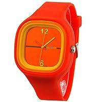 Fashion Mens Womens Jelly Watches Silicone Quartz Sport Wrist Watch (Orange)