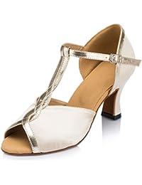 Honeystore Women's T Strap Glitter Heel Latin Dance Shoes