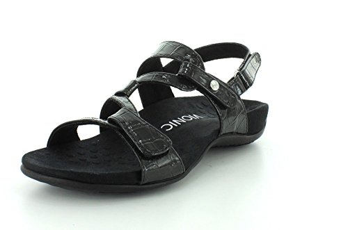Vionic REST Paros - Womens Adjustable Sandal Black Patent - 5 Black Patent