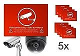 5X Aufkleber Etikett Sticker Achtung Videoüberwachung Videoüberwacht Video Kamera Überwachungskamera Überwachung Schild Warnhinweis Warnschild Kameraüberwachung Selbstklebend