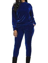 Femmes Velour Survêtement Suit - Manche Longue Col Rond Sweat-Shirt +  Pantalon Automne Hiver Casual Sports Jogging Jacket Ensemble de… c37456bde24